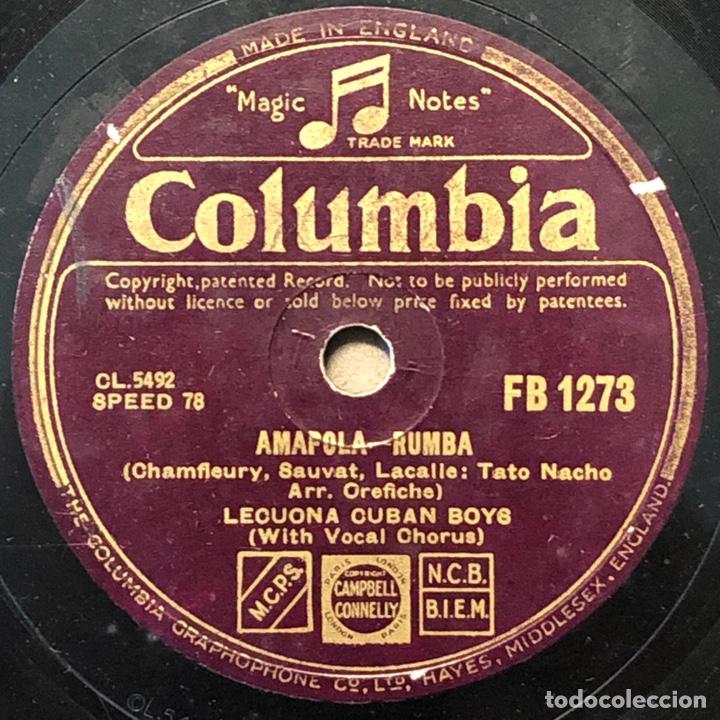 78 RPM - COLUMBIA-LECUONA CUBAN BOYS - TABOU / AMAPOLA - RUMBA (Música - Discos - Pizarra - Solistas Melódicos y Bailables)