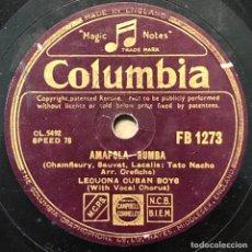Discos de pizarra: 78 RPM - COLUMBIA-LECUONA CUBAN BOYS - TABOU / AMAPOLA - RUMBA. Lote 243358880