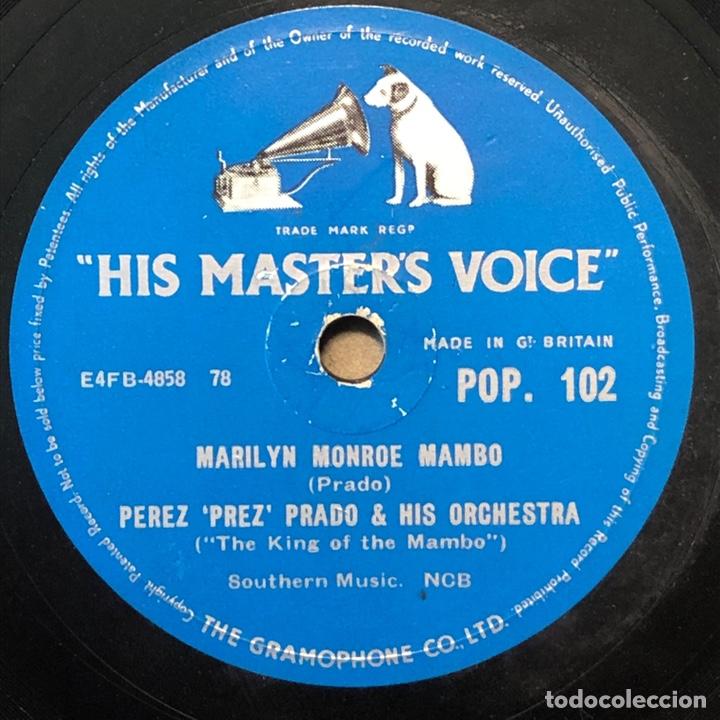 78 RPM - HIS MASTER VOICE -PEREZ PRADO-MARILYN MONROE MAMBO / STEM HEAT (Música - Discos - Pizarra - Solistas Melódicos y Bailables)