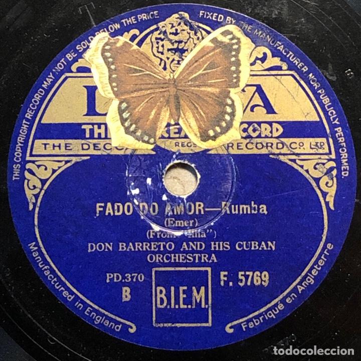Discos de pizarra: 78 Rpm - Decca - Don Barreto - Fado do Amor /Sombra De Cuba - Rumba - Foto 2 - 243522310