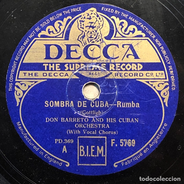 78 RPM - DECCA - DON BARRETO - FADO DO AMOR /SOMBRA DE CUBA - RUMBA (Música - Discos - Pizarra - Solistas Melódicos y Bailables)