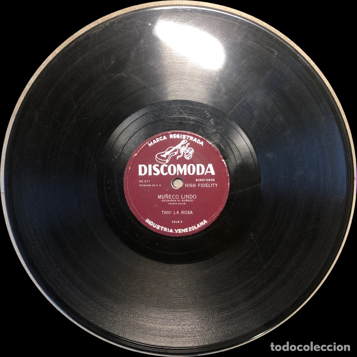 Discos de pizarra: 78 RPM - DISCOMODA - Trio La Rosa - Muñeco Lindo / Maracucha - Cuba - Foto 4 - 243523325