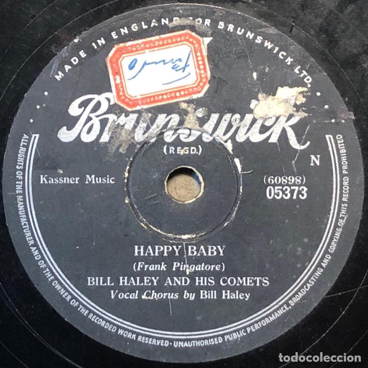 78 RPM - BRUNSWICK- BILL HALEY - DIM, DIM THE LIGHTS / HAPPY BABY- ROCK (Música - Discos - Pizarra - Solistas Melódicos y Bailables)