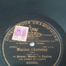 Discos de pizarra: MARINA. ARRIETA. GRABACIÓN DE 1906. TRIO: BEZARES, MORENO Y ESCALONA.. Lote 243534670