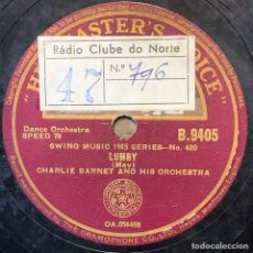 Discos de pizarra: 78 RPM - HIS MASTER VOICE - CHARLIE BARNET MOTHER FUZZY / LUMBY - SWING. Lote 243535960