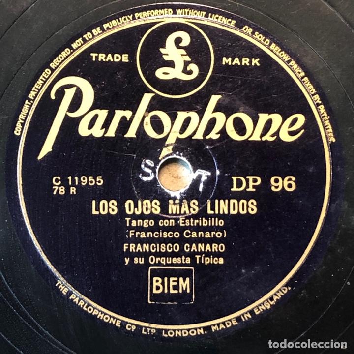 78 RPM - PARLOPHONE - FRANCISCO CANARO - CORAZÓN ENCADENADO / LOS OJOS MÁS LINDO - TANGO (Música - Discos - Pizarra - Solistas Melódicos y Bailables)