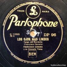Discos de pizarra: 78 RPM - PARLOPHONE - FRANCISCO CANARO - CORAZÓN ENCADENADO / LOS OJOS MÁS LINDO - TANGO. Lote 243581990