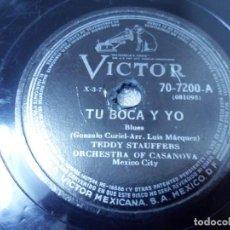 Discos de pizarra: DISCO DE 78 RPM TEDDY STAUFFERS ORQ. CASANOVA MEXICO CITY BLUES / ADIÓS MARIQUITA LINDA FOX LENTO. Lote 244770150