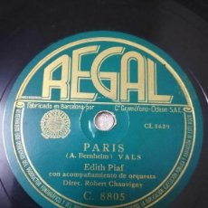 Discos de pizarra: DISCO DE 78 RPM. EDITH PIAF PARIS /POU MOI TOUT SEULE. Lote 244781760