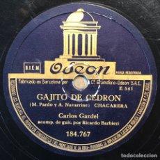 Discos de pizarra: 78 RPM - ODEON - CARLOS GARDEL - BUENOS AIRES / GAJITO DE CEDRON - TANGO - CHACARERA. Lote 245003440