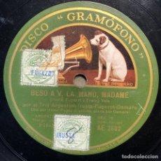 Discos de pizarra: 78 RPM - GRAMOFONO - TRIO ARGENTINO IRUSTA FUGAZOT DEMARE - ARRABAL / BESO A V. LA MANO, MADAME. Lote 245005005