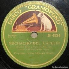 Discos de pizarra: 78 RPM - EDGARDO DONATO / FRANCISCO LOMUTO - MUCHACHOS DEL CAFETÍN / MONTE CRIOLLO - TANGO. Lote 245091930