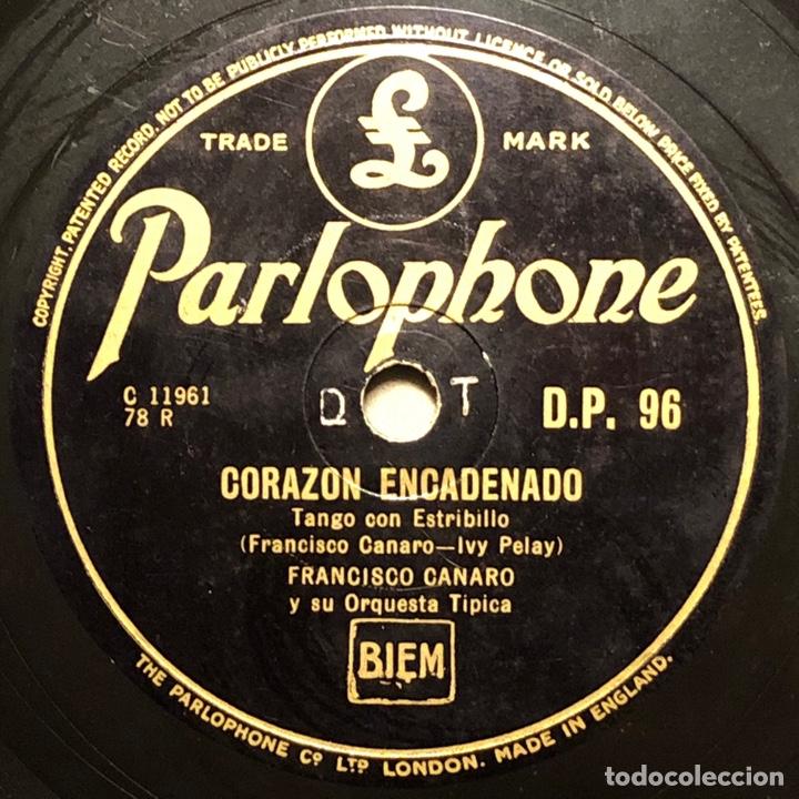 78 RPM - PARLOPHONE- FRANCISCO CANARO - LOS OJOS MÁS LINDO / CORAZÓN - TANGO (Música - Discos - Pizarra - Solistas Melódicos y Bailables)