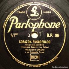 Discos de pizarra: 78 RPM - PARLOPHONE- FRANCISCO CANARO - LOS OJOS MÁS LINDO / CORAZÓN - TANGO. Lote 245100440