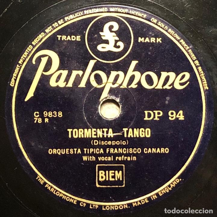 78 RPM - PARLOPHONE- FRANCISCO CANARO - VANIDAD / TORMENTA - TANGO (Música - Discos - Pizarra - Solistas Melódicos y Bailables)