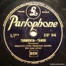 Discos de pizarra: 78 RPM - PARLOPHONE- FRANCISCO CANARO - VANIDAD / TORMENTA - TANGO. Lote 245104540