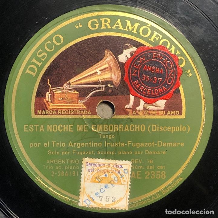 78 RPM - GRAMOFONO - TRIO ARGENTINO IRUSTA FUGAZOT DEMARE - ESTA NOCHE ME EMBORRACHO/ SUPLICAS (Música - Discos - Pizarra - Solistas Melódicos y Bailables)