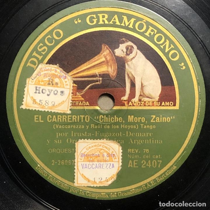 78 RPM - GRAMOFONO - TRIO ARGENTINO IRUSTA FUGAZOT DEMARE - EL CARRERITO / EL CHAMUYO - TANGO (Música - Discos - Pizarra - Solistas Melódicos y Bailables)