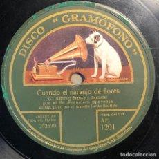 Disques en gomme-laque: 78 RPM - GRAMOFONO - FRANCISCO SPAVENTA - CUANDO EL NARANJO DE FLORES / VOLVERAS - TANGO. Lote 246040395