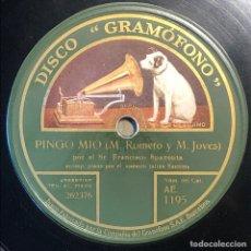 Disques en gomme-laque: 78 RPM - GRAMOFONO - FRANCISCO SPAVENTA - PINGO MIO/ CELOSA- TANGO. Lote 246044040