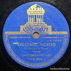 Disques en gomme-laque: 78 RPM - TANGO- FRANCISCO CANARO - DECIME ADIÓS / YA VENDRÁN TIEMPOS MEJORES - TANGO. Lote 246421960