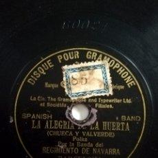 Discos de pizarra: BANDA REGIMIENTO NAVARRA - LA ALEGRÍA DE LA HUERTA (1902). Lote 246530995