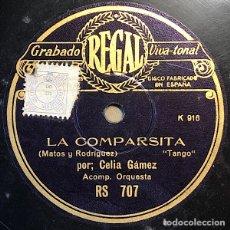 Disques en gomme-laque: 78 RPM - ODEON - CELIA GAMEZ - LA COMPARSITA / PLEGARIA - TANGO. Lote 246620500