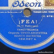 Disques en gomme-laque: 78 RPM - ODEON - BIANCO BACHICHA -ANGUSTIA/ FEA - TANGO. Lote 246623720