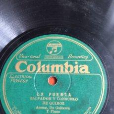 Discos de pizarra: LA PUEREA SALVADOR Y CONSUELO DE QUIROZ. Lote 246912580