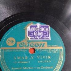 Discos de pizarra: AMAR Y VIVIR ANTONIO MACHIN. Lote 246913230