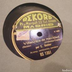 Discos de pizarra: 78 RPM E. BALDER. Lote 247406140