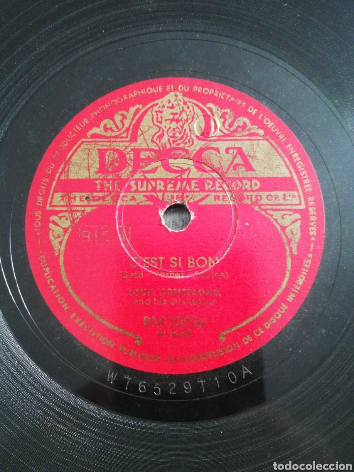 Discos de pizarra: Disco 78rpm Louis Armstrong- LA VIE EN ROSE/CEST SI BON - Foto 3 - 249324480