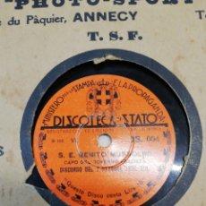 Discos de pizarra: LOTE 3 DISCOS 78RPM S.E BENITO MUSSOLINI - ROMA: DISCORSO DEL 2 OTTOBRE 1935. Lote 251183240