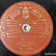 Dischi in gommalacca: LA RUBIA, ANTONIO POZO - GUAJIRAS DEL NIÑO DE CABRA, Nº 2 / JOTAS ARAGONESAS, Nº 8 - ODEON 41104. Lote 252049815
