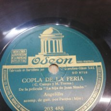 Discos de pizarra: DISCO 78RPM ANGELILLO- MILONGA DE JUAN SIMON / COPLA DE LA FERIA. Lote 252165430