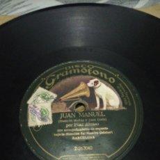 Discos de pizarra: DISCO 78RPM PILAR ALONSO - DIEGO MONTES /JUAN MANUEL. Lote 252391490