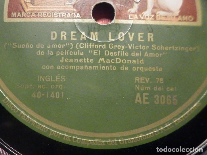 Discos de pizarra: La voz de su Amo AE 3065 - Dream Lover - March of Grenadiers - Desfile de Amor - Jeanette MacDonald - Foto 2 - 252841205