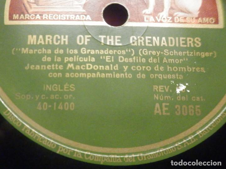 Discos de pizarra: La voz de su Amo AE 3065 - Dream Lover - March of Grenadiers - Desfile de Amor - Jeanette MacDonald - Foto 3 - 252841205