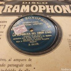 Discos de pizarra: 78 RPM LA REPÚBLICA DEL AMOR. Lote 253170960