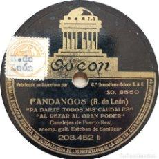Discos de pizarra: CANALEJAS DE PUERTO REAL - AY MARICRUZ / FANDANGOS. Lote 253482135