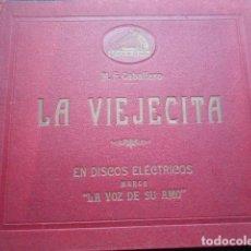 Discos de pizarra: COLECCIÓN 4 DISCOS PIZARRA LA VIEJECITA LA VOZ DE SU AMO GRAMOFONO M.F. CABALLERO. Lote 253629115