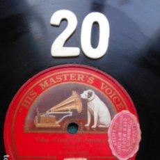 Discos de pizarra: PIZARRA LA VOZ DE SU AMO 12 PULGADAS GRAMOPHONE VALSE CAPRICE RUBENSTEIN PIANO. Lote 254030590