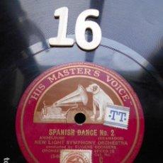 Discos de pizarra: PIZARRA LA VOZ DE SU AMO 12 PULGADAS GRAMOPHONE SPANISH DANCE ºNº 1 Y 2. Lote 254033270