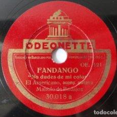 Discos de pizarra: PACO EL AMERICANO & GUITARRA MANOLO DE BADAJOZ - FANDANGOS - ODEONETTE. Lote 254263540