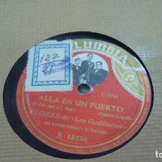 Discos de pizarra: LOS GADITANOS BARRENERO BARRENERO / ALLA EN UN PUERTO COLUMBIA R 18536 70 RPM.. Lote 254404790