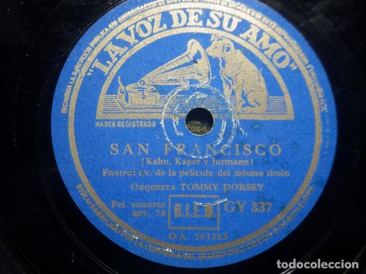PIZARRA LA VOZ DE SU AMO GY 337 - ORQUESTA TOMMY DORSEY - SAN FRANCISCO - ¿ QUISIERA VD.? PELÍCULA (Música - Discos - Pizarra - Bandas Sonoras y Actores )