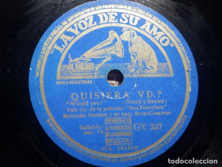Discos de pizarra: Pizarra La voz de su amo GY 337 - Orquesta Tommy Dorsey - San Francisco - ¿ Quisiera vd.? Película - Foto 3 - 258061195
