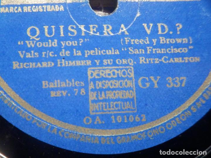 Discos de pizarra: Pizarra La voz de su amo GY 337 - Orquesta Tommy Dorsey - San Francisco - ¿ Quisiera vd.? Película - Foto 4 - 258061195