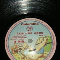 Discos de pizarra: DISCO 78RPM LOS TRES OSOS (CUENTO INFANTIL). Lote 260592160