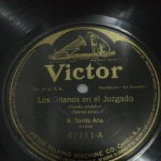 Discos de pizarra: DISCO 78RPM R. SANTA ANA EL NIÑO LISTO / LOS GITANOS EN EL JUZGADO (CUENTO ANDALUZ). Lote 260602165